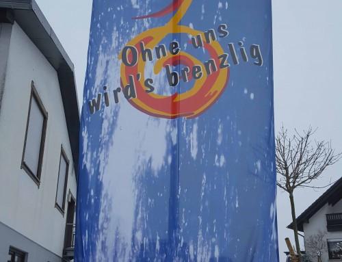 """Fahne Jugendfeuerwehr – """"Ohne uns wird's brenzlig"""""""